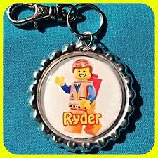 Personalized Name Bottle Cap Pendant LEGO Movie EMMETT Jewelry or Zipper Pull