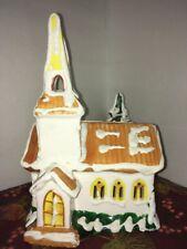Christmas Village Snow House Church  With Light