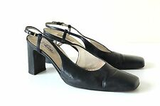 Women's Vintage RIZZO FIRENZE Sling Back Court Black Real Leather Shoes UK5.5