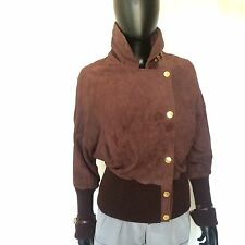 Marciano Womens Exotic Leather Jacket Size Small Maroon Cropped Fashion Coat S