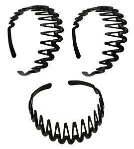3 PCS Black Comb Headband for Women Girls Teeth Hairband