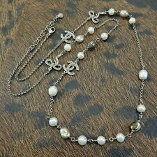 Chanel Faux Pearl And CC Rhinestones Long Silver Plated Necklace