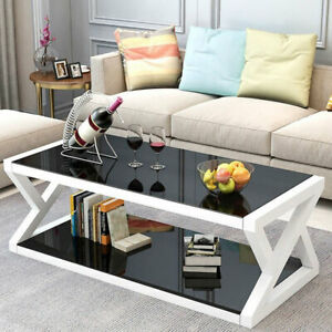 Rectangle Coffee Tea Table Tempered Glass Living Room With Lower Shelf Black