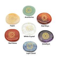 7Pcs Engraved Reiki Chakra Palm Stone Healing Crystal Quartz Meditation + Bag