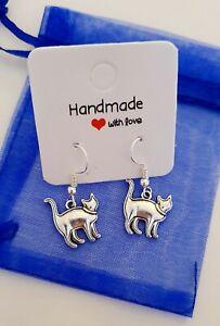 Silver Toned Cat Earrings Cute Pet Feline