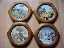 4 sechseckige Jahres- Zeiten - Bilder, gemalt auf Fliese sign. u- mit Holzrahmen