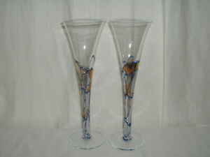 2 Milano Romania Stain Glass Champagne Flute Gold Mosaic Blue Line 10""