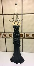 Elegant Jewelry Doll Necklace Display Stand Tree Figurine Woman's Black Gown