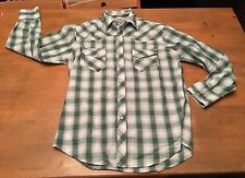 Vtg Style men's Wrangler Wrancher Western button up Green L/S shirt Euc