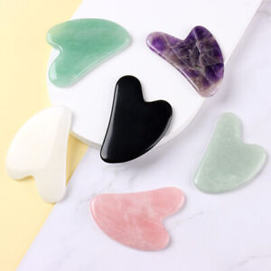 Natural Rose Quartz Facial Jade Gua Sha Stone Beauty Massage Tool Face Massager