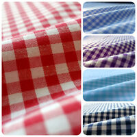 """Mini Gingham Check Poly Cotton Fabric 60"""" Picnic Theam Print By The Yard 5 color"""