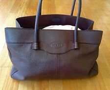 Auth TOD'S Mocassino Brown Pebbled Leather Shopping Tote  Handbag Made in ITALY!