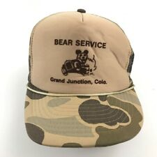 VINTAGE Bear Service Hat Cap Brown Camouflage Snapback Adjustable One Size 90s