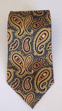"""J CREW 100% Silk Made In USA Geometric Gold Blue Necktie 57.5"""" L X 3.75"""" W"""