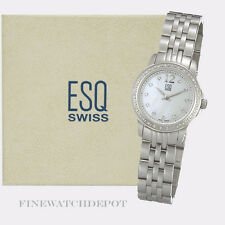 Authentic Ladies ESQ Swiss Stainless Steel Diamonds MOP Watch
