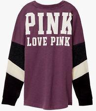 Victoria's Secret Pink Colorblock Varsity Crew Tunic Mauve Mist Black L NIP
