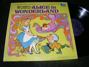 ALICE IN WONDERLAND LP Disneyland w BOOK 1969 Purple Labels Psychedelic Cover