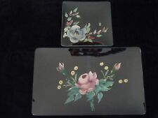 VTG SET OF 2 GLASS PLATES SERVING TRAYS HAND PAINTED FLOWERS VERY GOOD CONDITION