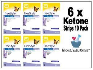 Ketone Test Strips 6x 10 Pack (60 Strips) FreeStyle Optium Blood Abbott UnOpened