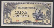 """UNC"" 1942-44 Burma 5 Rupees Japanese Occupation P-15b ""Block BB"". #330"