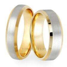 18K SOLID WHITE & YELLOW GOLD WEDDING RINGS SET, MATCHING WEDDING BANDS