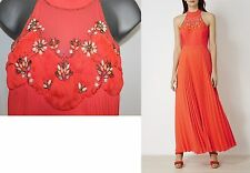 Karen Millen Coral Jewel Pleated Cocktail Evening Maxi Dress UK 14  EU 42 £499