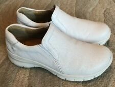 NURSE MATES London Twilight Women's 10 M White Leather Occupational Clog Slip On