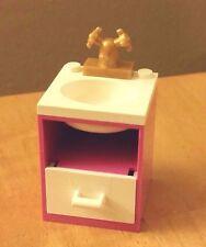 LEGO Custom Furniture BATHROOM SINK Dark Pink White Basin & Drawer -City Friends