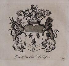 1779 ANTIQUE PRINT ~ Yelverton ~ Family Crest Armoiries comte de Sussex