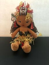 Island Friends Plush Hawaiian Girl Coconut Top And Grass Skirt Embroidered Face