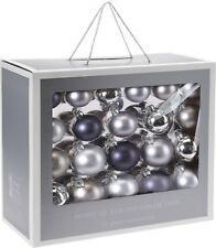 Box of 42 Real Glass Christmas Tree Baubles Glass Decorations Xmas Decor