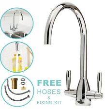 Kitchen Tap Sink Mixer Twin Lever Handle Faucet Chrome Basin Deck Brass Taps UK