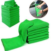 10Pcs Absorbent Microfiber Towel Car Home Kitchen Washing Clean Wash Cloth Green