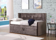 Bourges Mink Velvet Fabric Day Bed Single Storage Drawer Guest Bed Trundle