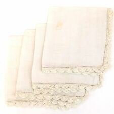 "Vintage Delicate Napkins or Hankerchief Lapel 10.5"" Square * Set of 4 Lot"