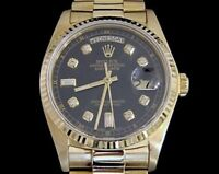 Mens Rolex Day-Date President Solid 18KT 18k Gold Watch Black Diamond Dial 18038