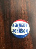 """1960 KENNEDY AND JOHNSON small 3/4"""" Litho JFK Pinback Button Pin AUTHENTIC"""