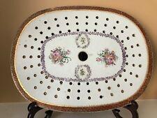 "Rare Antique Chinese Export Famile Rose Porcelain Meat Platter Strainer-12.5"" L"