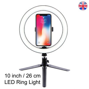 PHOTOLUX 10 Inch Ring Light LED with Desktop Tripod and Phone Holder UK STOCK