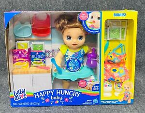Baby Alive Happy Hungry Baby Brown Straight Hair Doll, 50+ Sounds