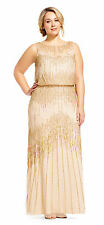 Adrianna Papell Champagne/Gold Sheer Neckline Embellished Blouson Gown 16W  $379