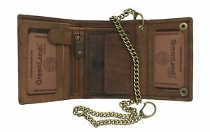 Greenland-Nature STONE Gents Leather Biker Wallet Security Chain RFID 2151