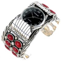 Navajo Sterling Silver Deep Ox-Blood Red Coral Watch Bracelet Cuff Mens s7