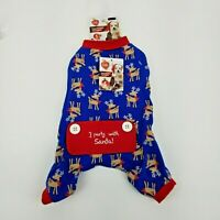 Puppy Dog Blue Christmas Winter Pajamas Small Rudolph Reindeer