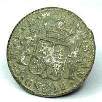 Spanish Revolutionary War Royal Crest silver button Pensacola FL - CONSERVED