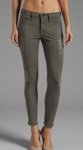 New! RAG & BONE Army Green Halifax Leather trim Legging Jeans ~ sz 24 (rrp $289)