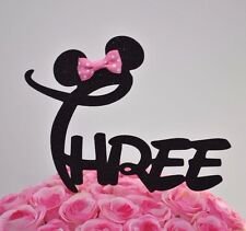 "Minnie Mouse Glitter ""THREE"" Cake Topper Birthday Party Black With Pink Bow"