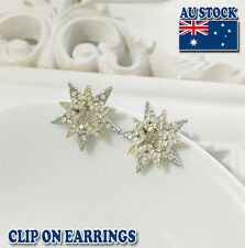 18CT White Gold Plated Star Clip On Earrings With Clear SWAROVSKI Crystal
