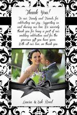 DAMASK Wedding Reception THANK YOU Printable Card Photo Custom Print 4x6 or 5x7