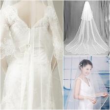 1T One Tier Elegant Cathedral White Edge Wedding Bridal Bride Veil 14628